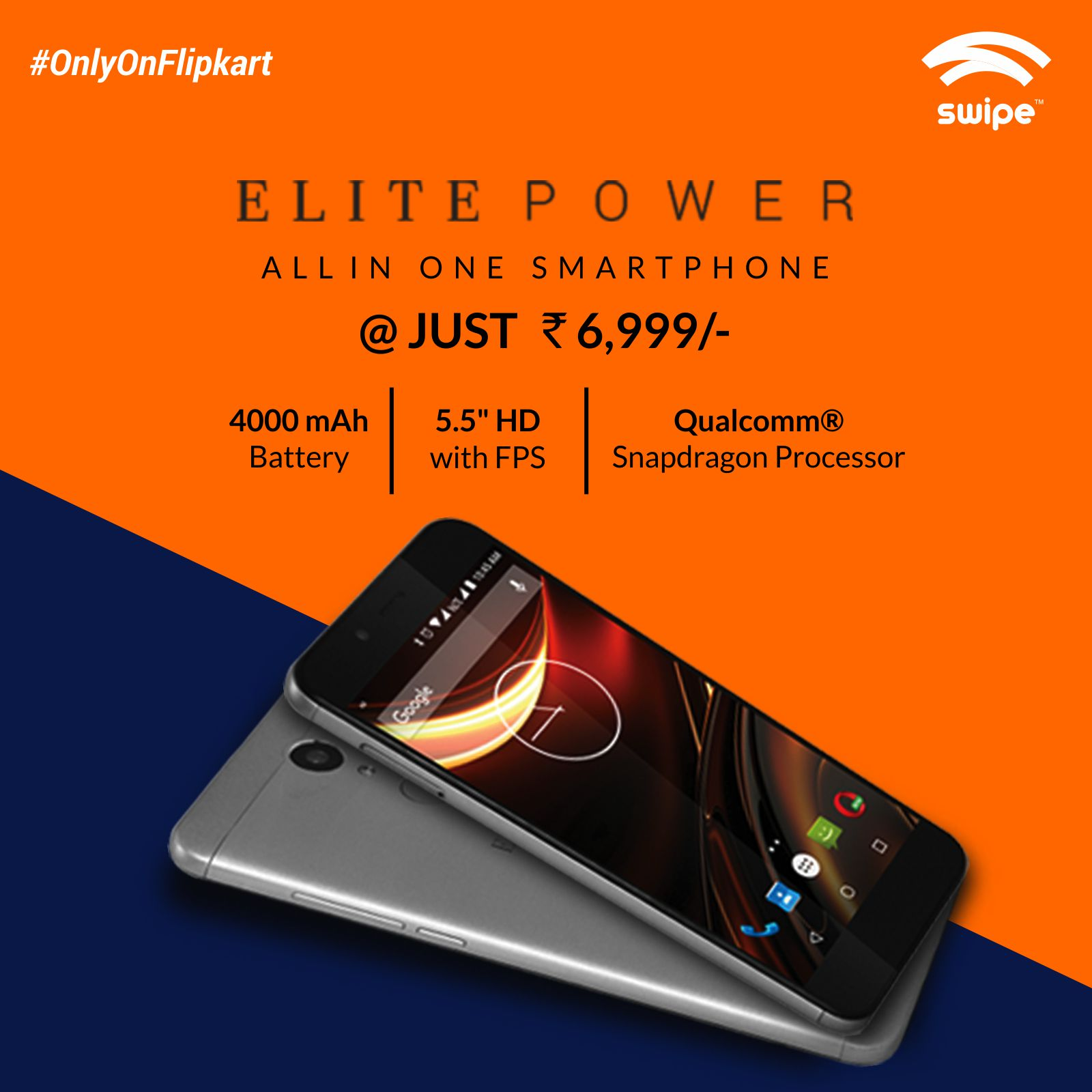 Swipe launches ELITE Power with 4000mAh battery for just Rs. 6,999/- exclusively on Flipkart